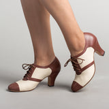 PRE-ORDER Evelyn Retro Oxfords (Tan/Brown)(1920-1950)