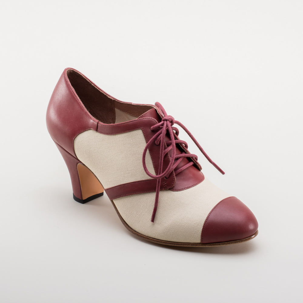 PRE-ORDER Evelyn Retro Oxfords (Tan/Wine)(1920-1950)