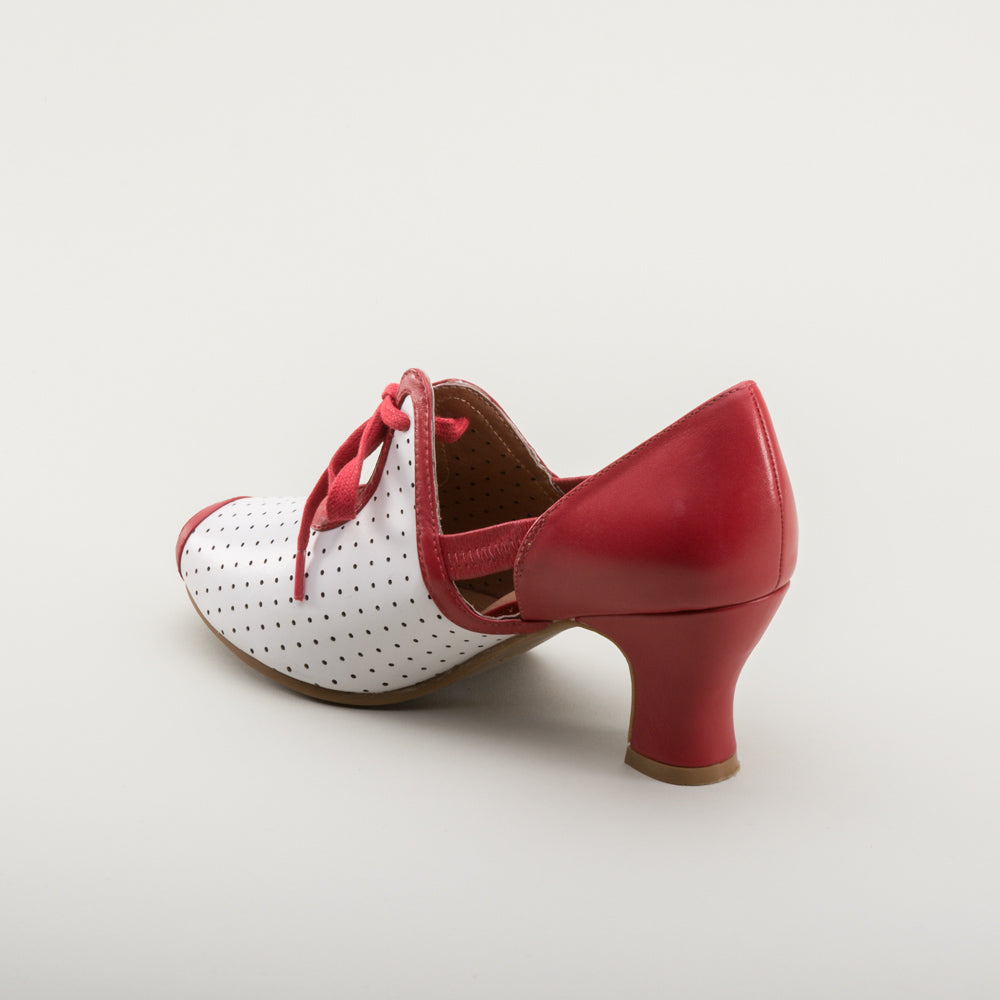 Ginger 1930s Sandals (Red/White)