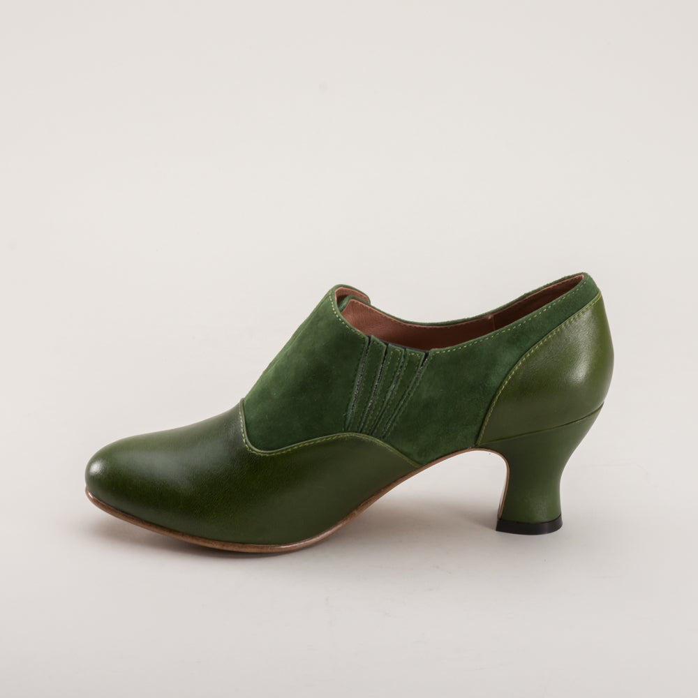 Greta Retro Side-Button Shoes (Green)