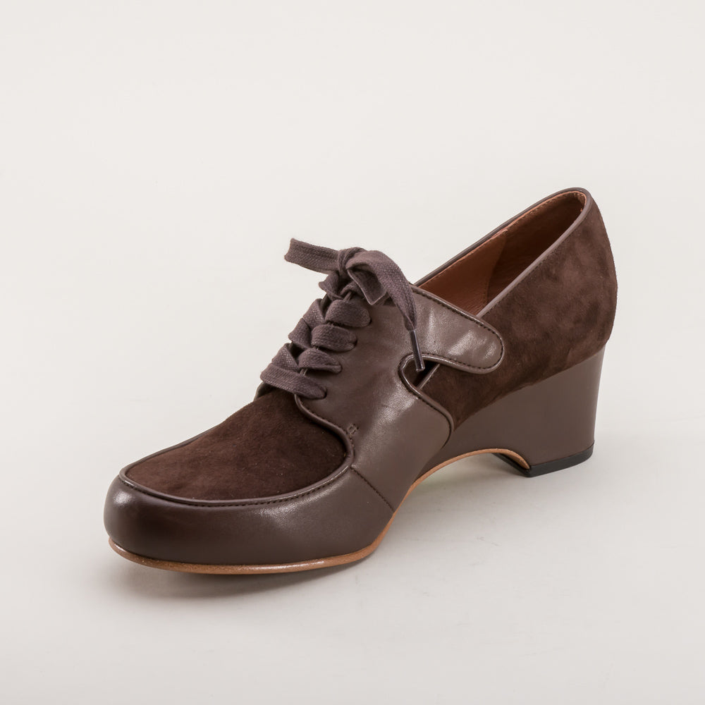 Harriet 1940s Wedge Oxfords (Brown)