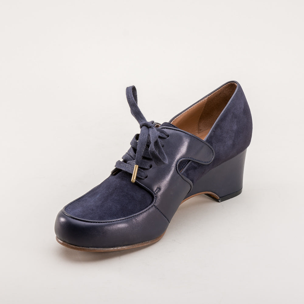 Harriet 1940s Wedge Oxfords (Navy Blue)