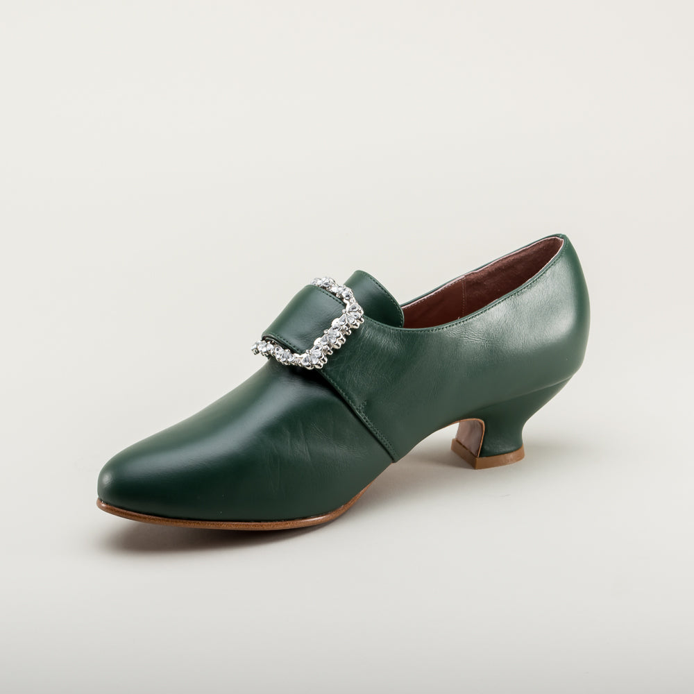 PRE-ORDER Kensington 18th Century Leather Shoes (Dark Green)(1760-1790)