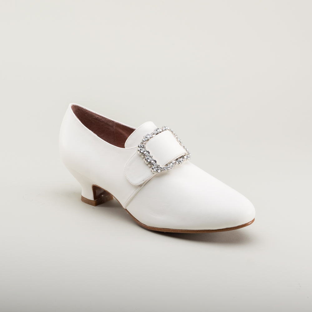 PRE-ORDER Kensington 18th Century Leather Shoes (Ivory)(1760-1790)