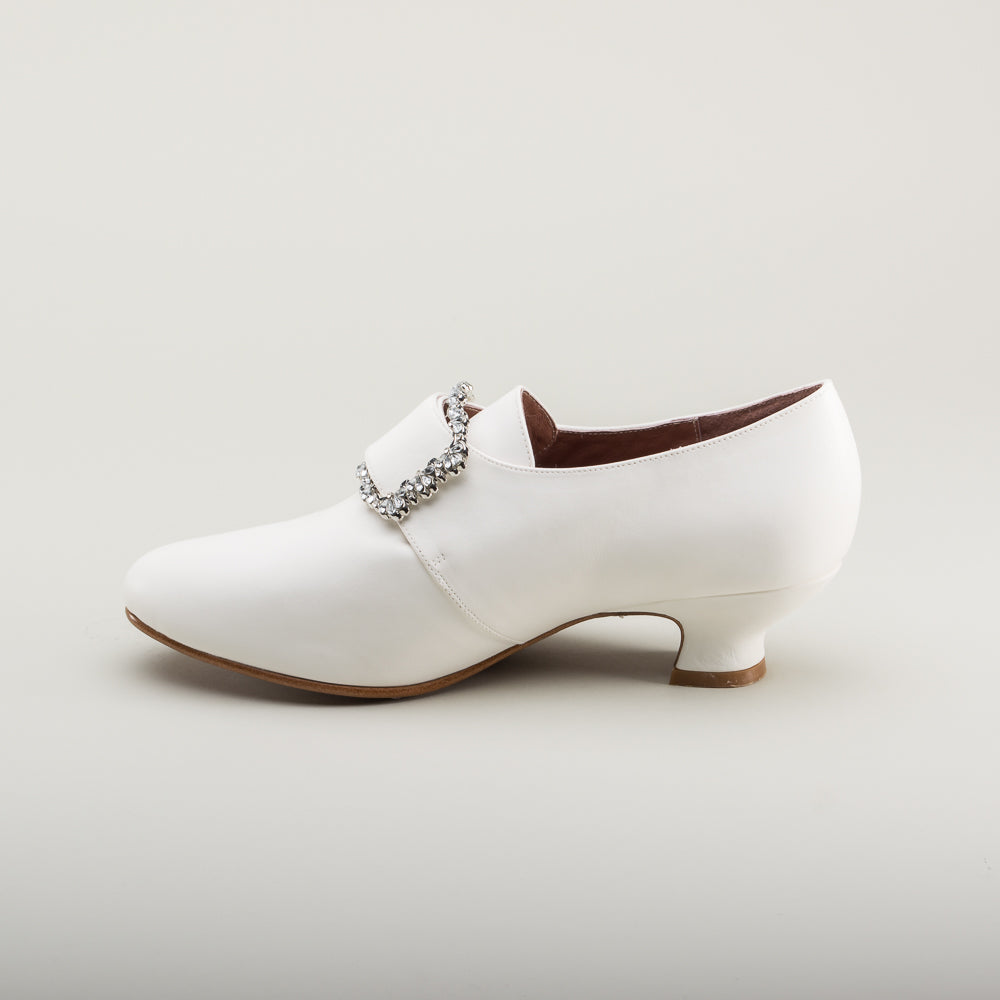 Kensington 18th Century Leather Shoes (Ivory)(1760-1790)