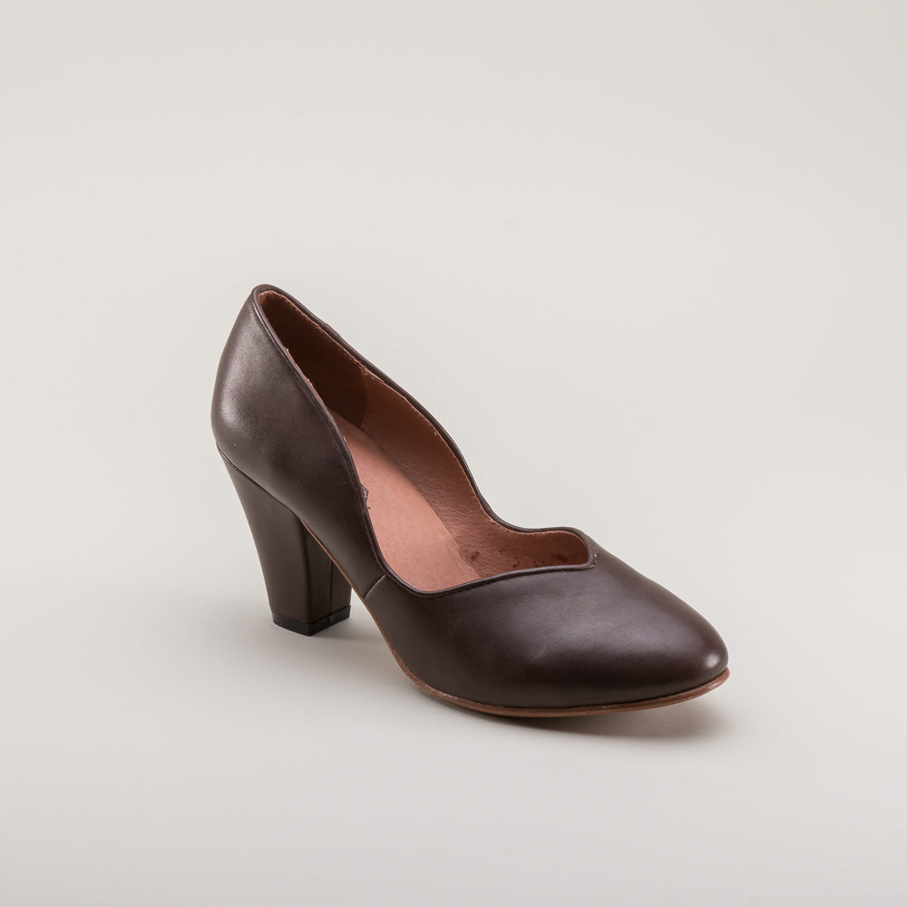 PRE-ORDER Marilyn 1940s Pumps (Brown)