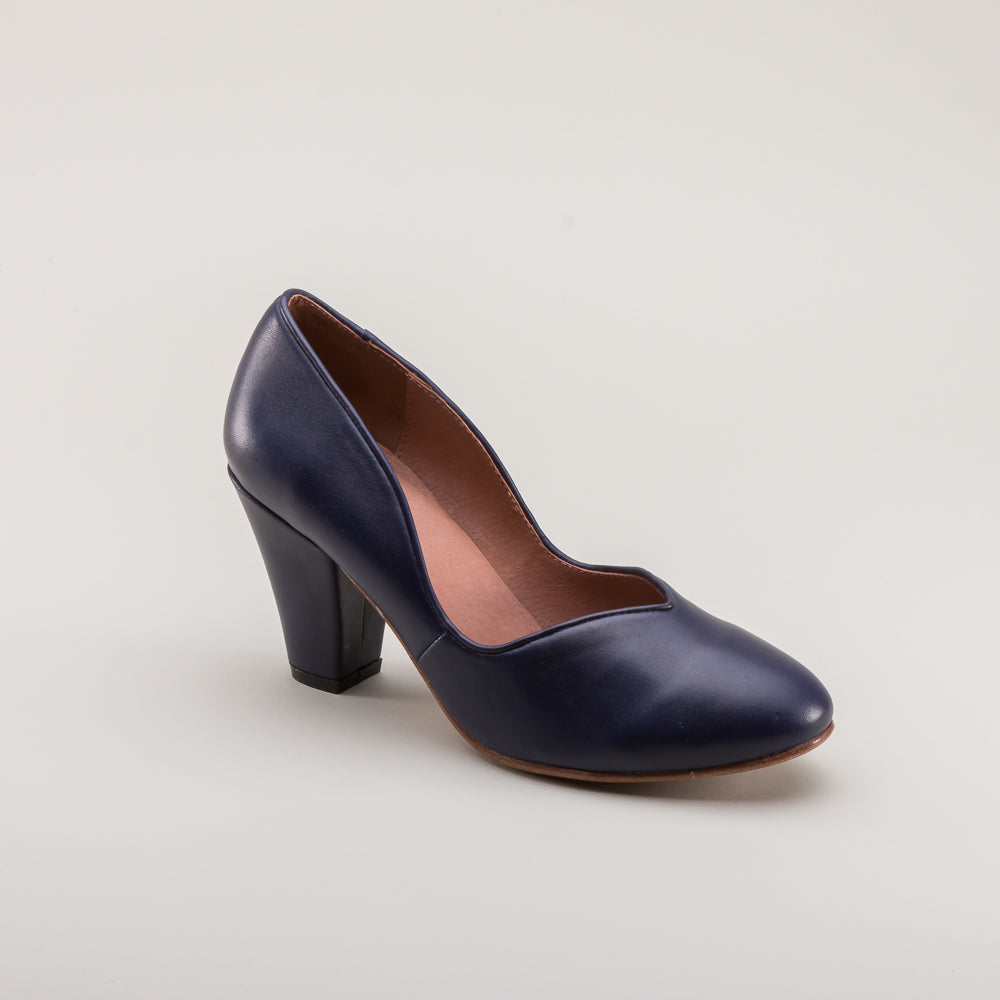 PRE-ORDER Marilyn 1940s Pumps (Navy Blue)