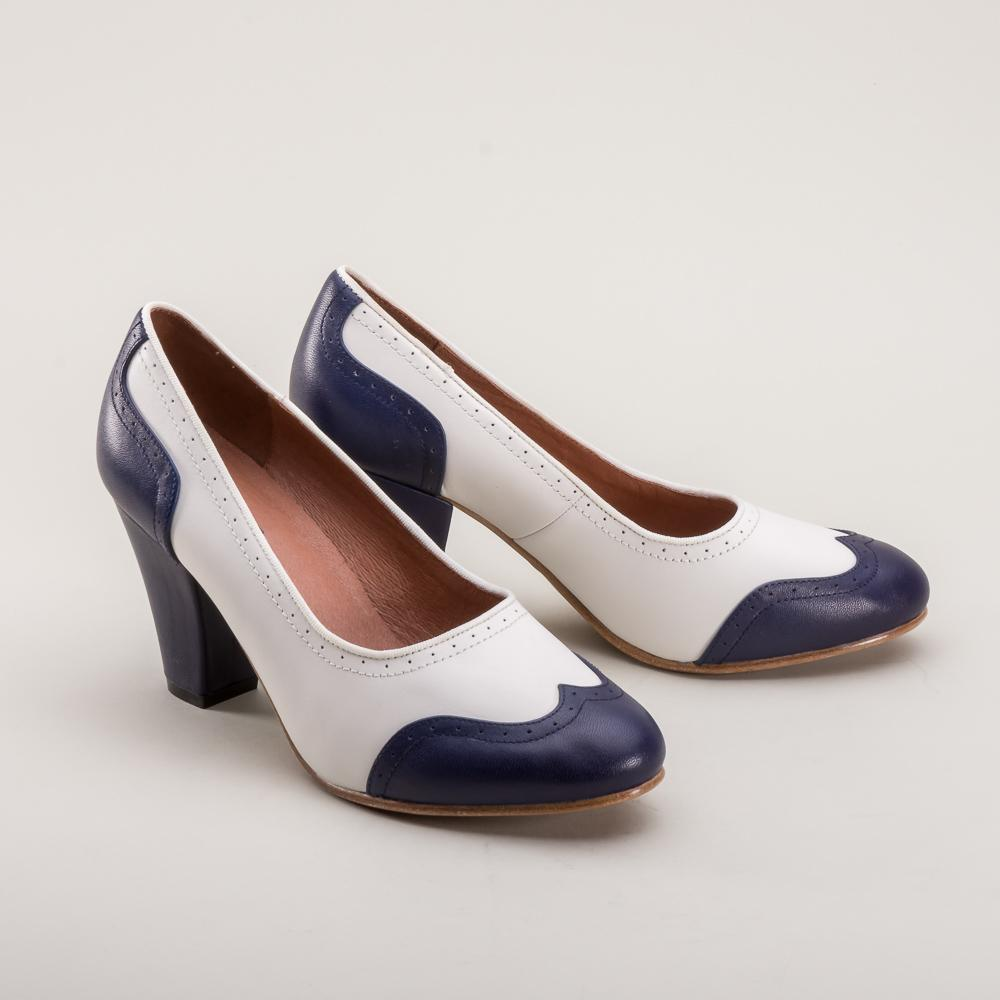 Peggy 1940s Spectator Pumps (Navy/White