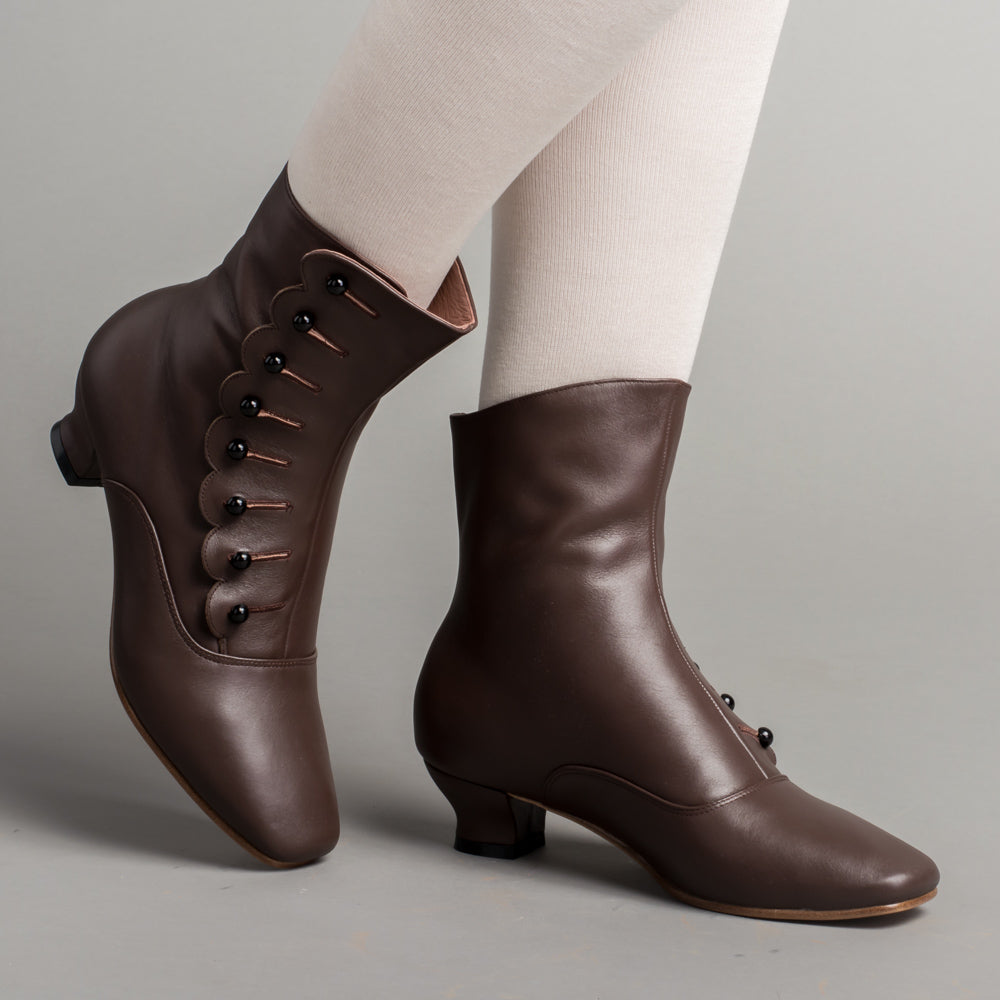 PRE-ORDER Renoir Victorian Button Boots (Brown)(1850-1880)