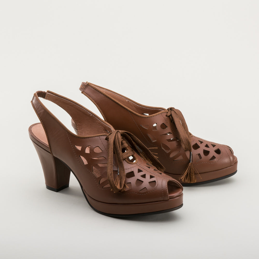 Rita 1940s Cutout Platform Slingbacks (Brown)