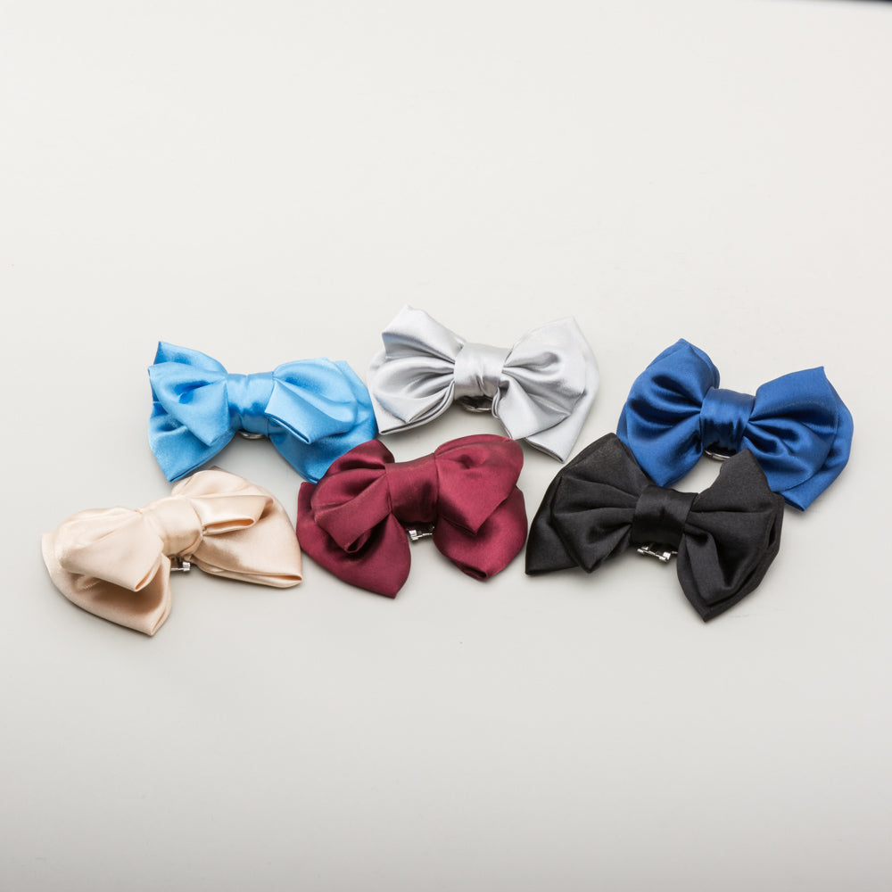 Double Satin Bow Shoe Clips