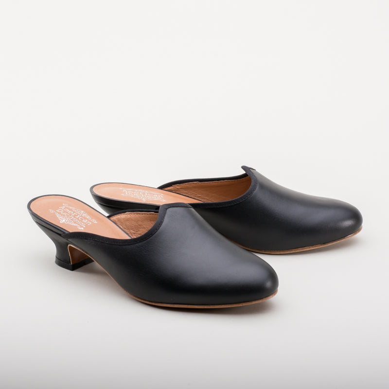 Sophie 18th Century Leather Mules (Black)(1760-1790)
