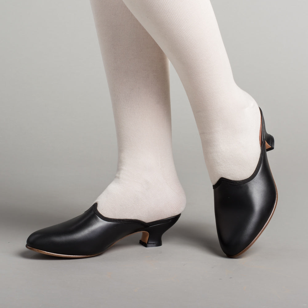 PRE-ORDER Sophie 18th Century Leather Mules (Black)(1760-1790)