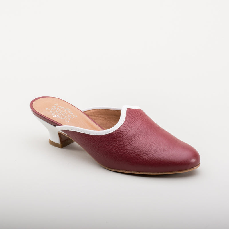 Sophie 18th Century Leather Mules (Oxblood)(1760-1790)
