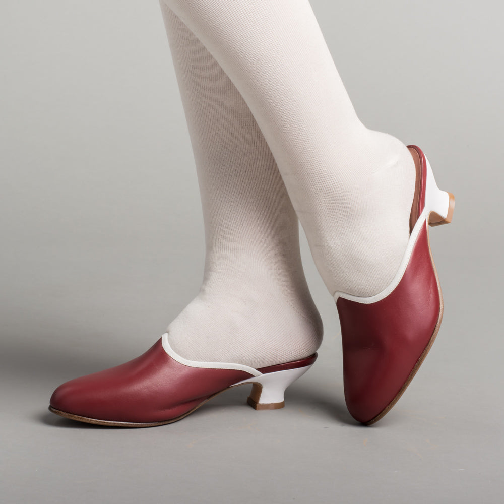 PRE-ORDER Sophie 18th Century Leather Mules (Oxblood)(1760-1790)