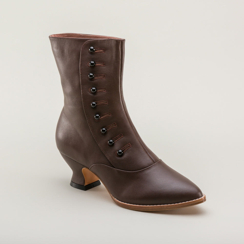 PRE-ORDER Tavistock Victorian Button Boots (Brown)(1890-1925)