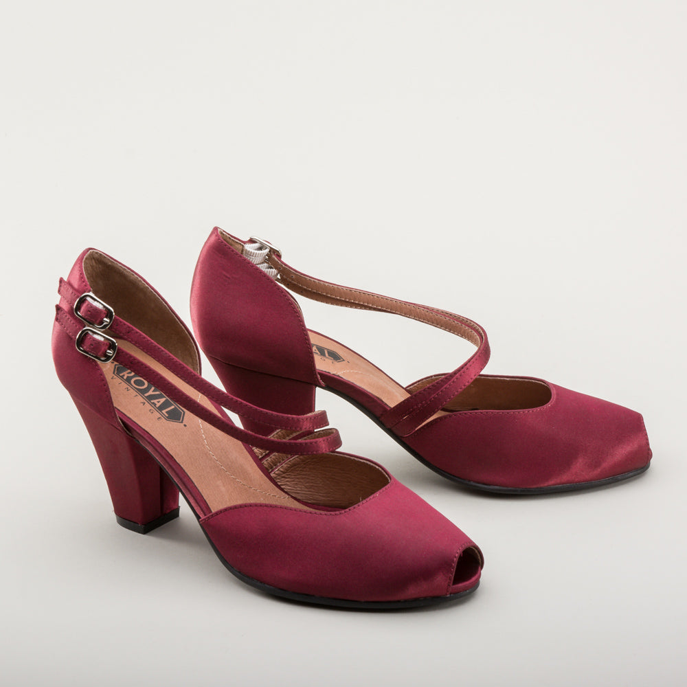 Zella 1940s Duo-Strap Sandals (Cranberry)