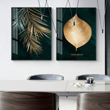 Abstract Golden Leaves Canvas Painting