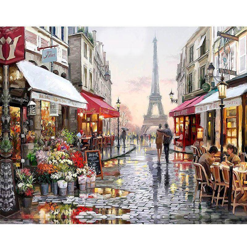 Romantic Paris Street - Paint-By-Number Kit