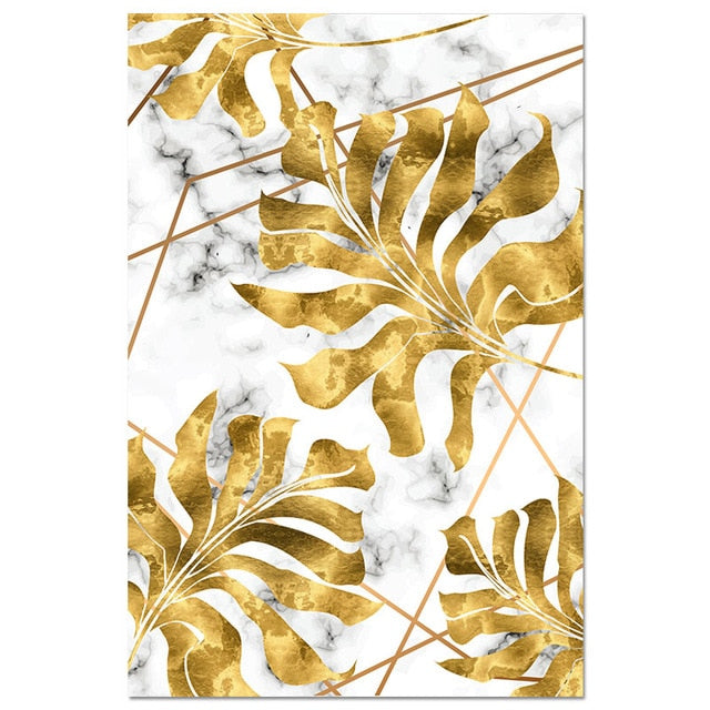 Nordic Golden Leaf Canvas Painting