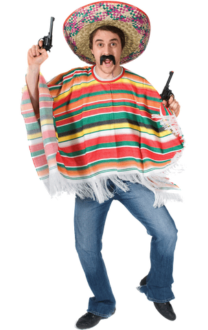 Adult Rainbow Mexican Poncho Costume