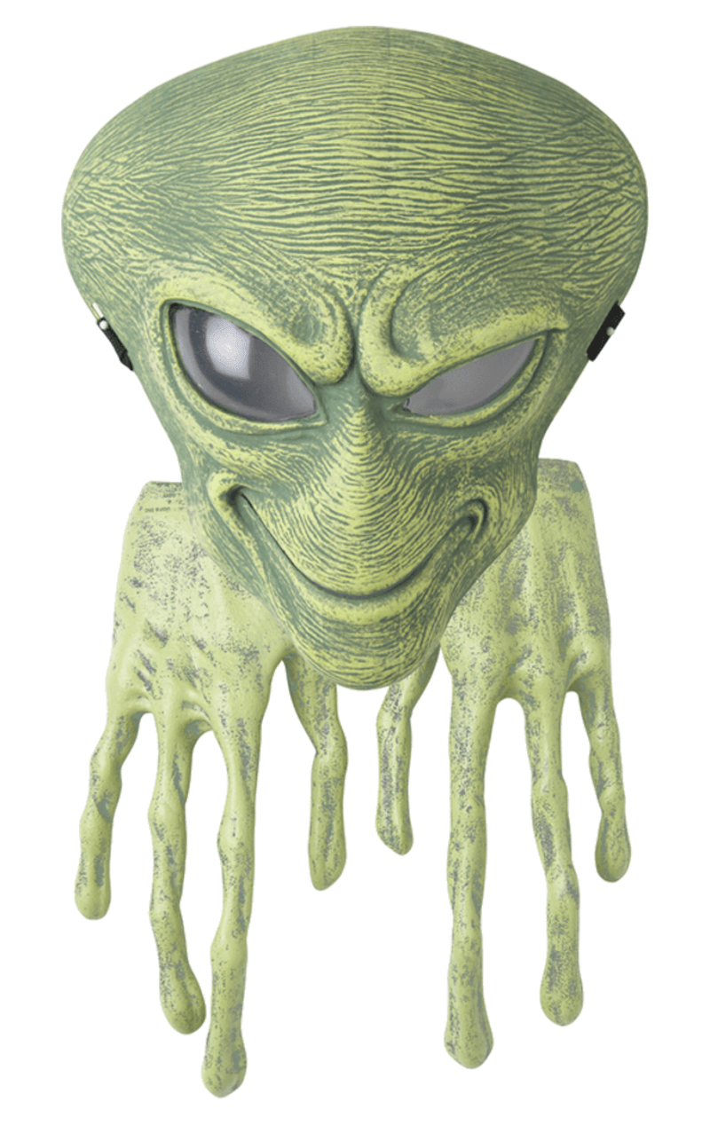 Adult Green Alien Facepiece and Hands Accessory