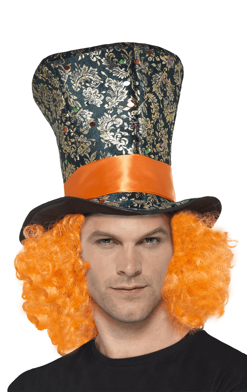Orange Mad Hatter Hair and Hat