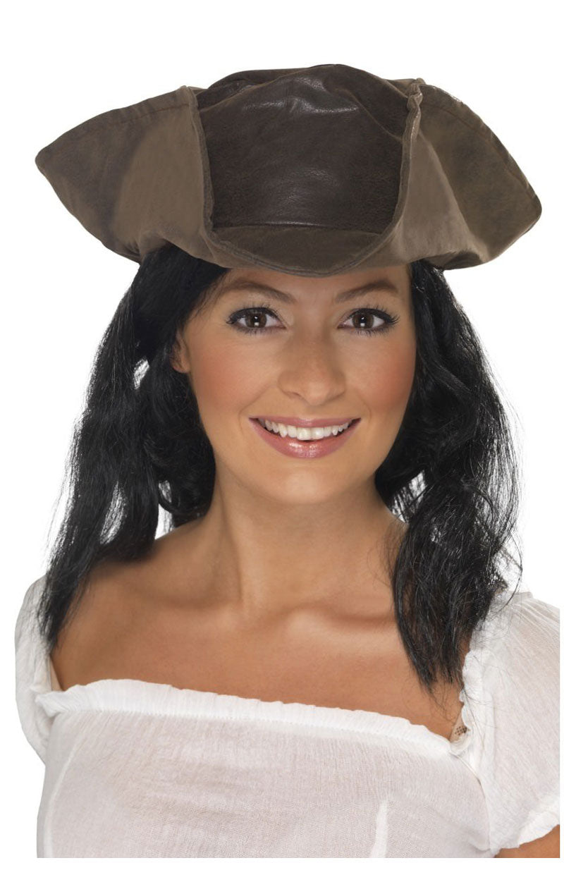 Brown Pirate Hat with Hair Accessory