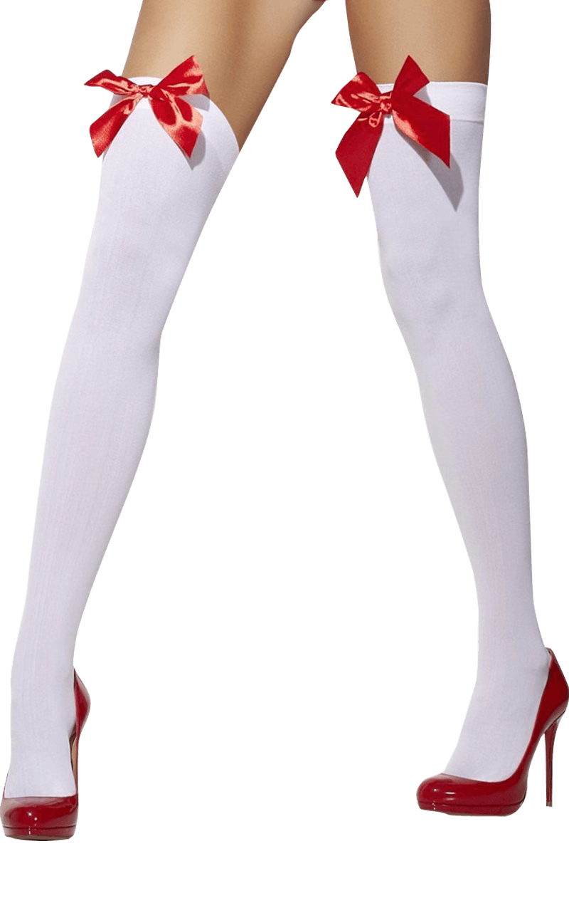 Womens Red Bow White Stockings