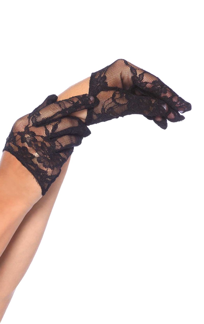 Cropped Black Lace Gloves