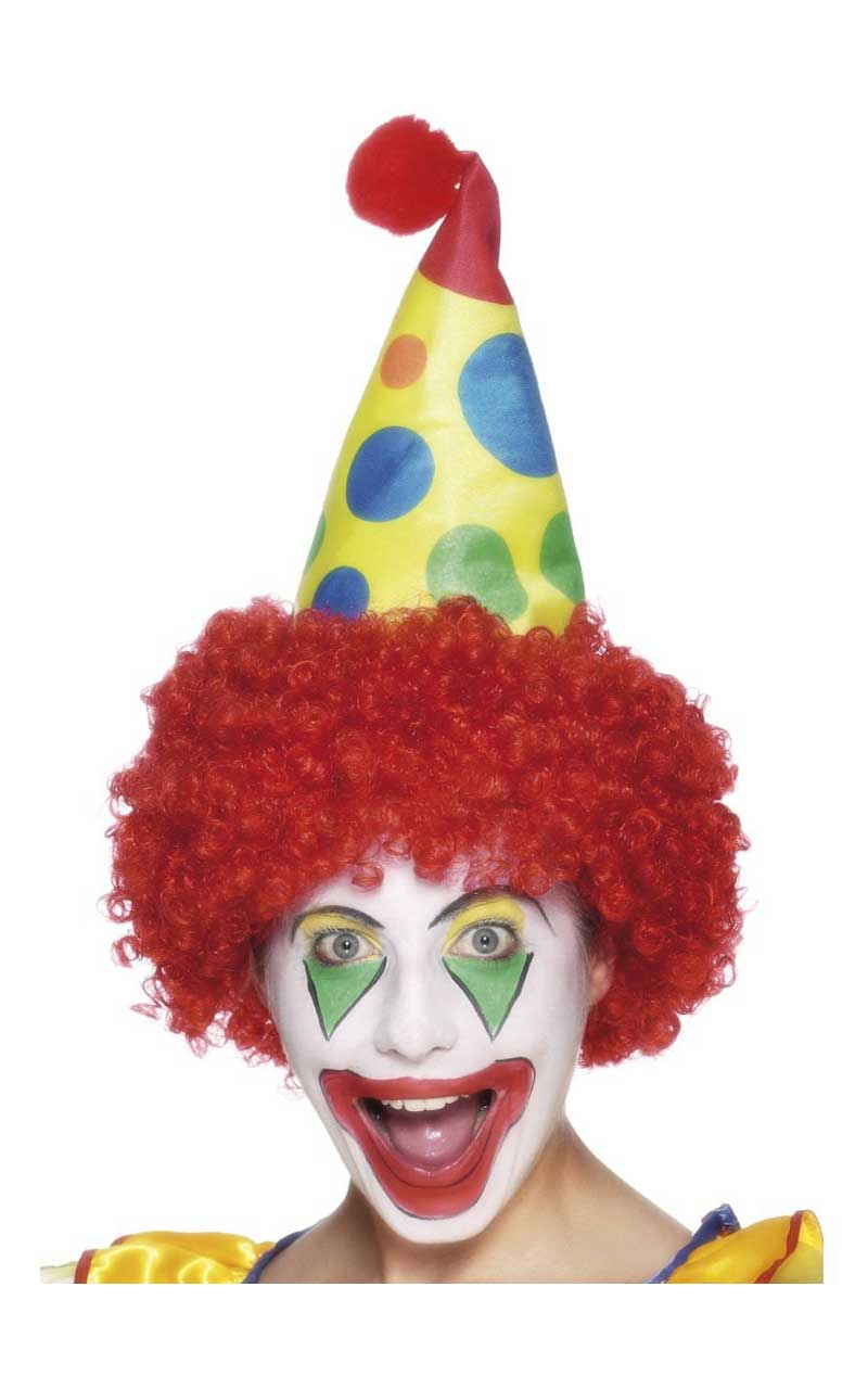 Yellow Clown Hat with Red Wig Accessory