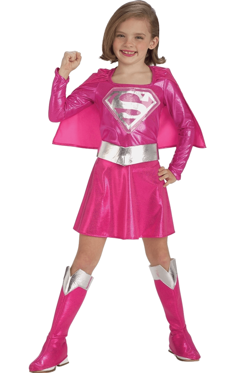 Child Pink Supergirl Super Hero Costume