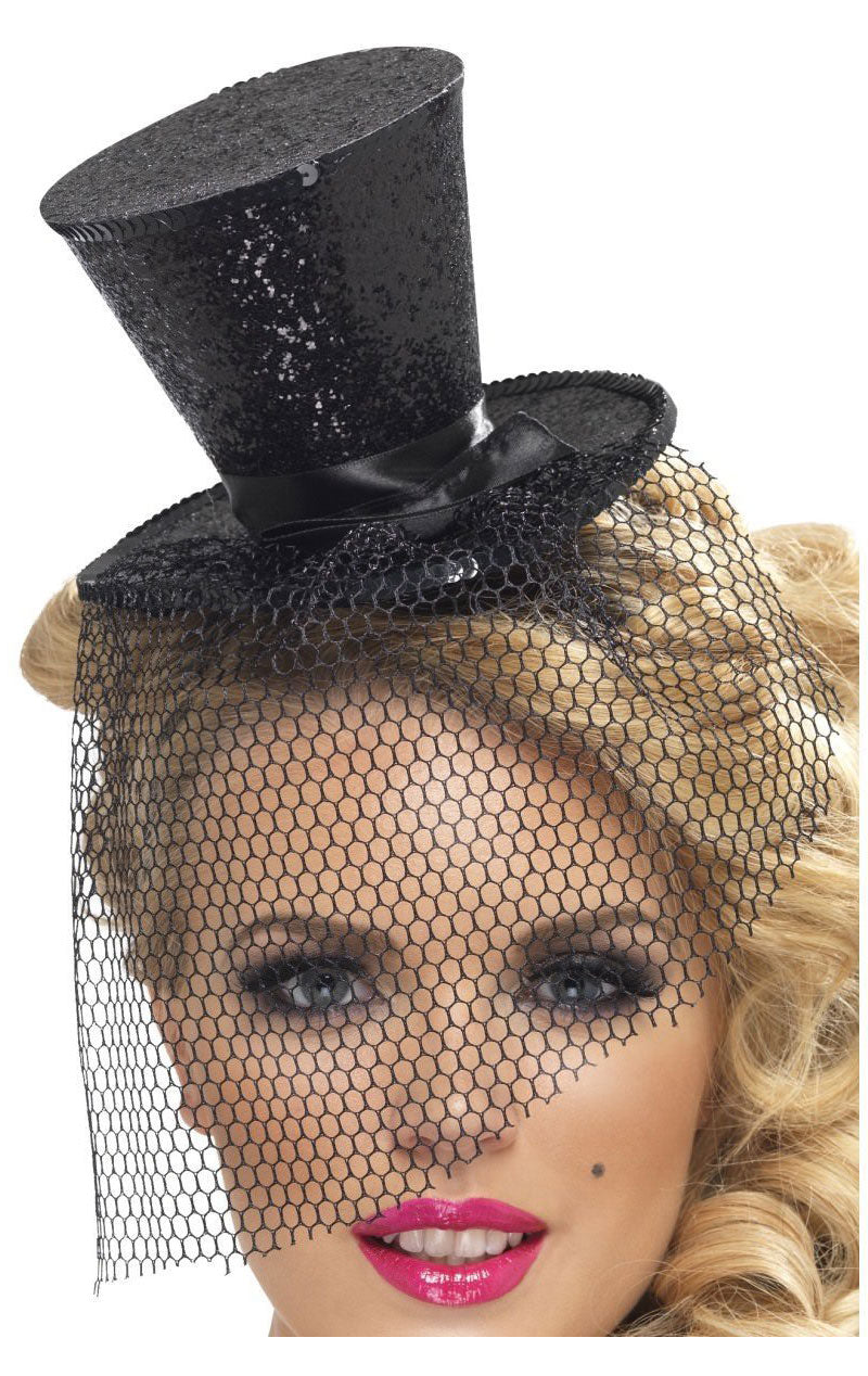 Mini Top Hat (Black Glitter)