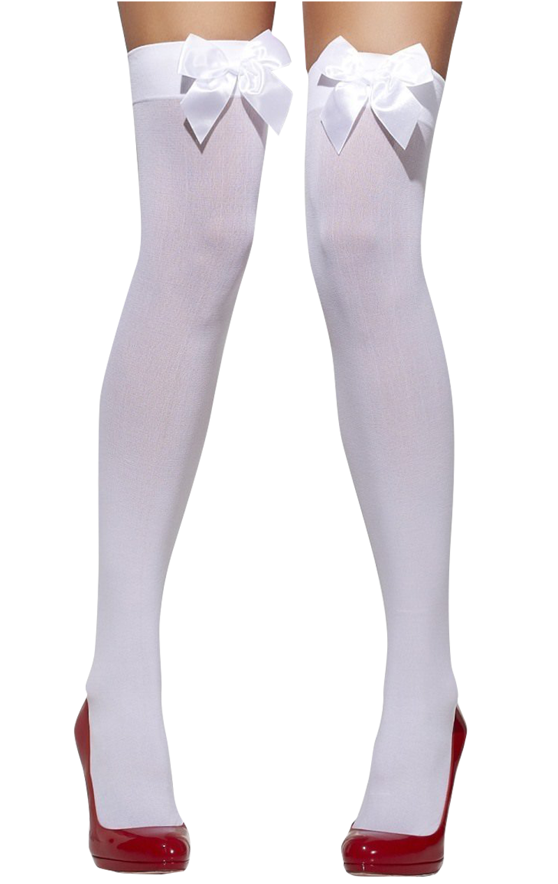 Womens White Bow Stockings
