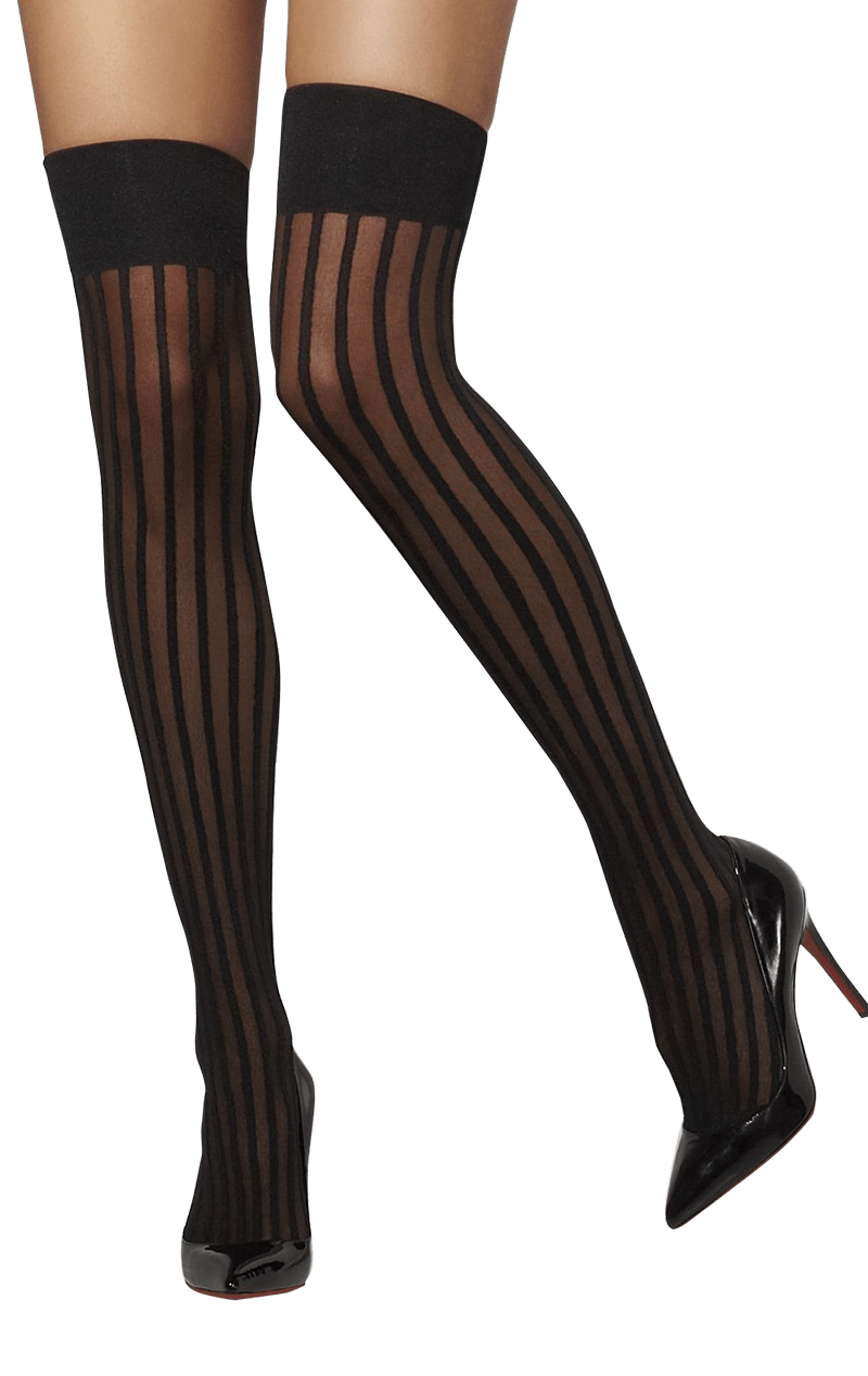 Womens Black Striped Stockings