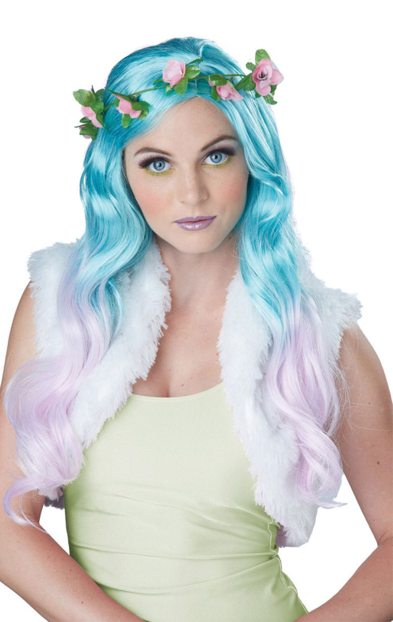 Floral Fantasy Blue and Pink Wig