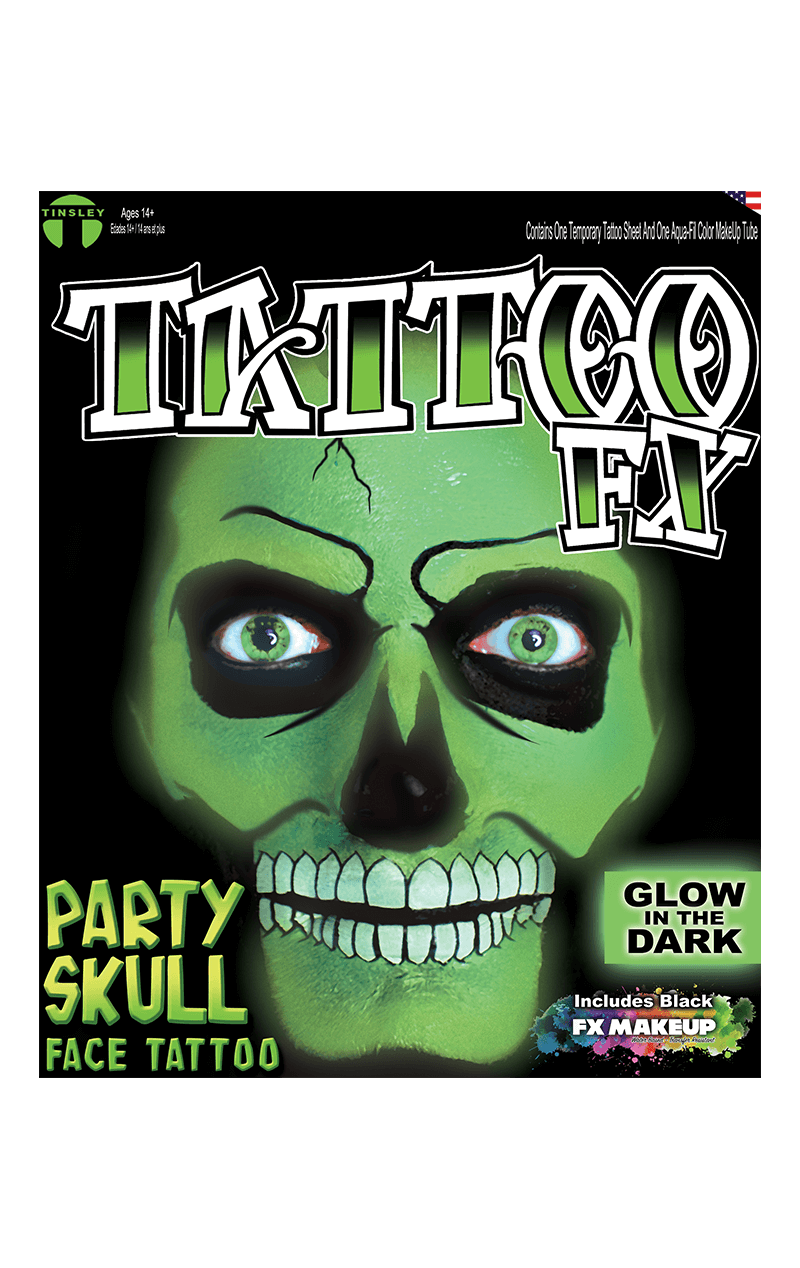 Glow in the Dark Party Skull Tattoo FX