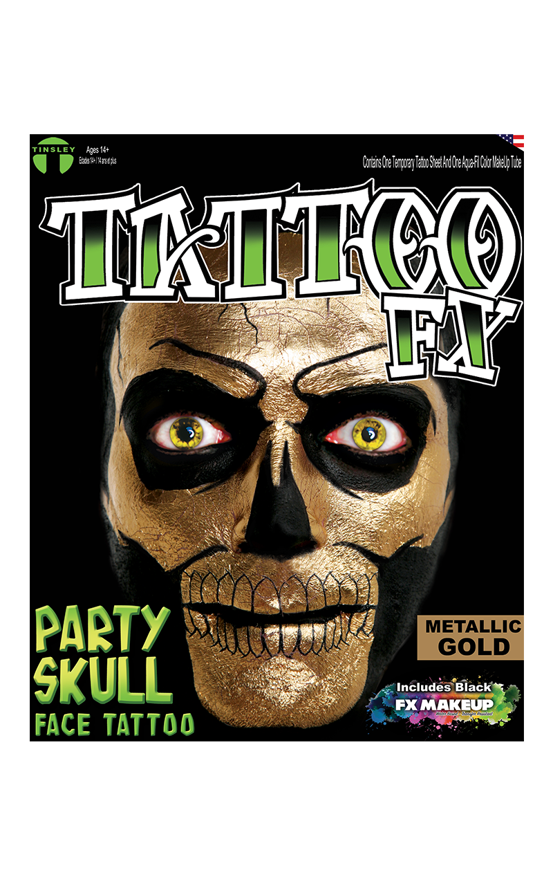 Metallic Gold Party Skull Tattoo FX