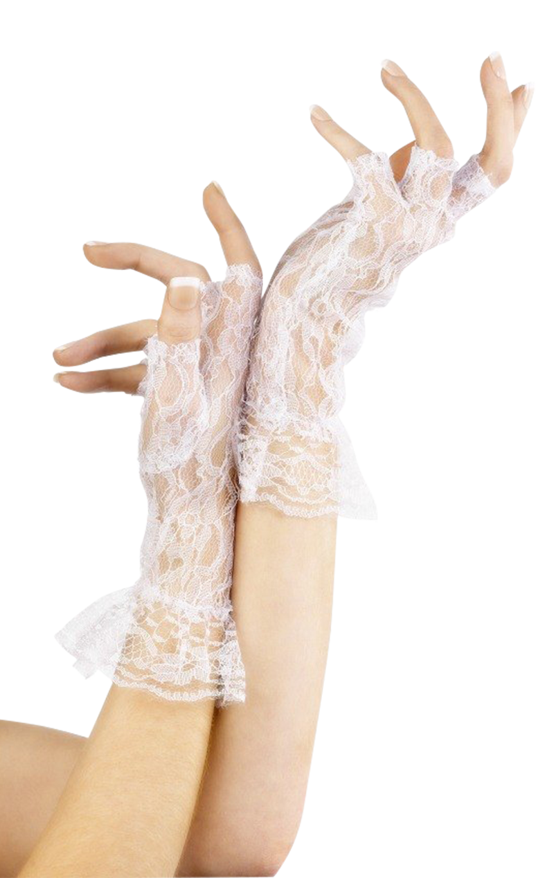 White Short Lace Fingerless Gloves