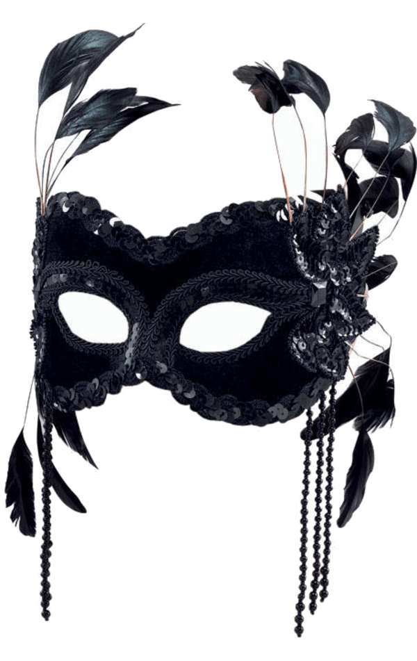 Black Velvet Facepiece with Feathers