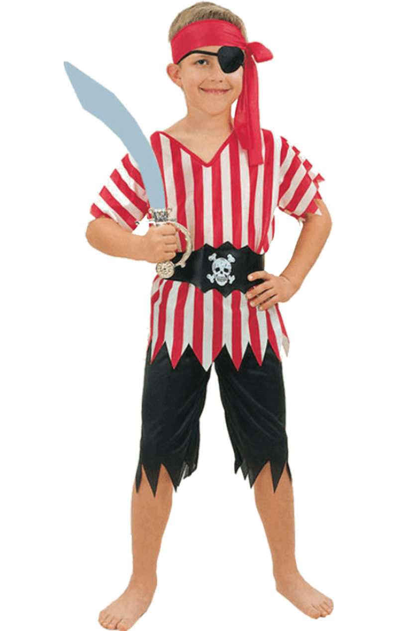 Child Striped Pirate Boy Costume