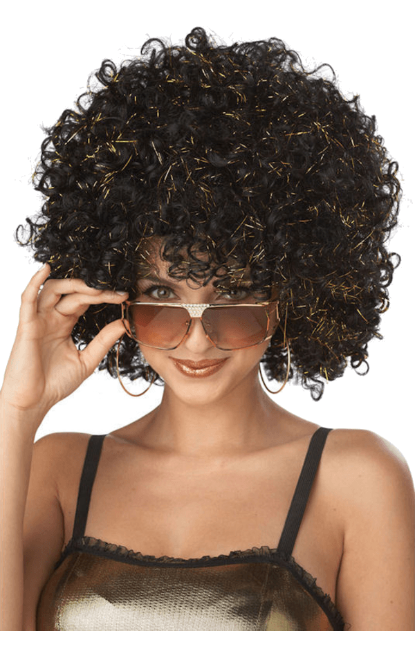Adult Disco Glitter Wig BLACK/GOLD