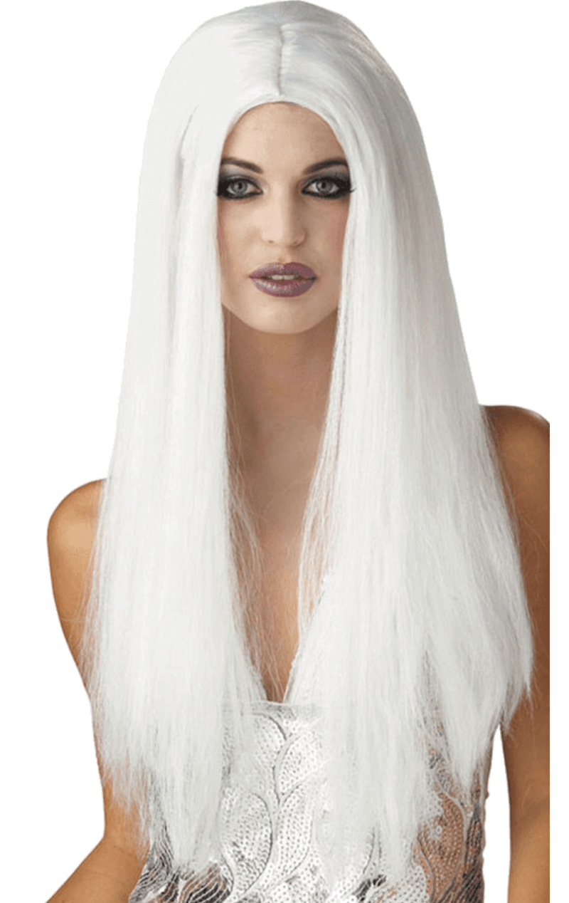 Womens Long White Halloween Wig
