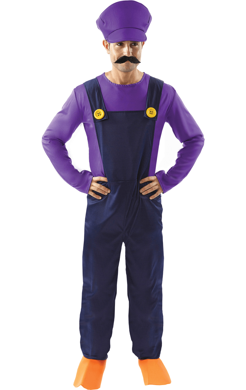 Mens Waluigi Super Mario Costume