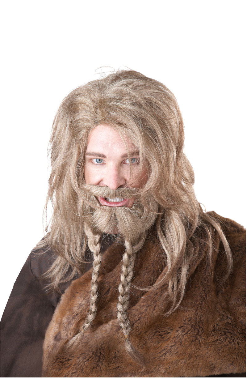 Blonde Viking Wig Beard and Moustache