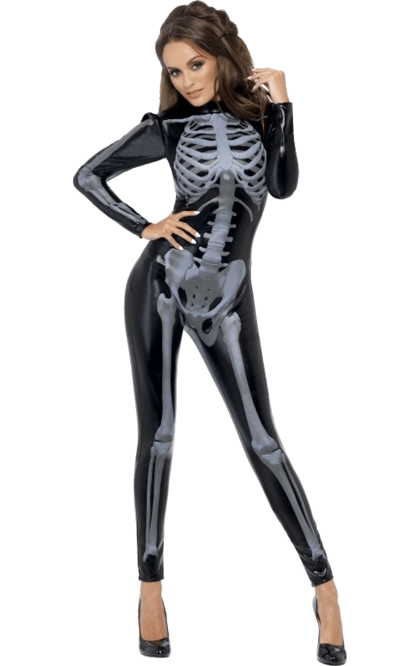 Womens Fever Skeleton Halloween Costume