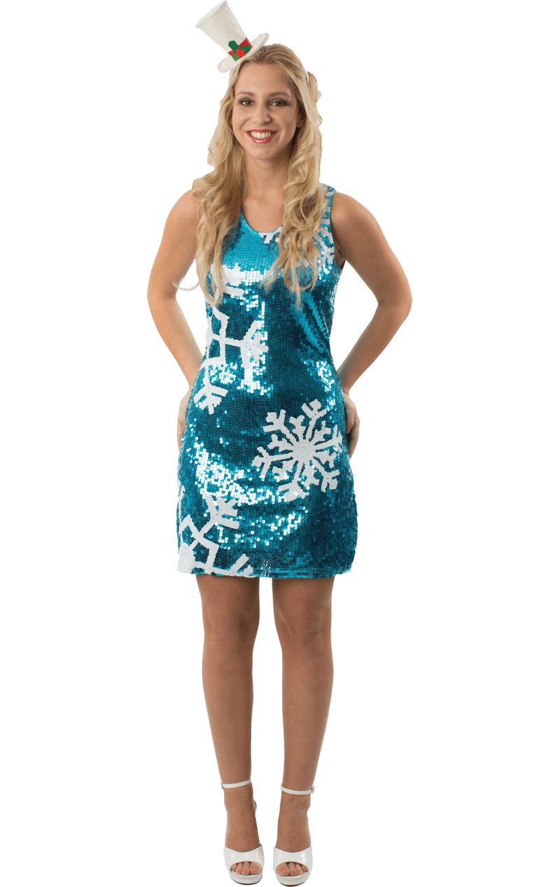 Womens Sequin Snowflake Christmas Dress