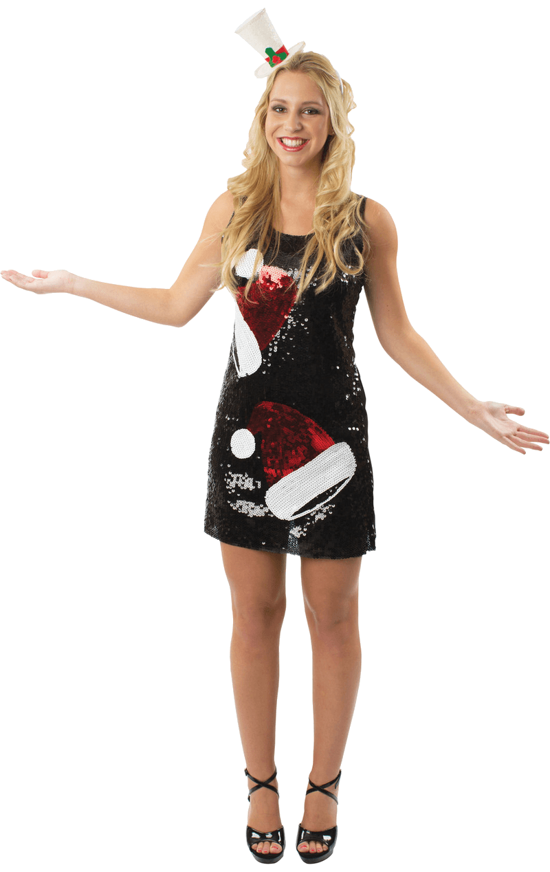 Womens Sequin Santa Hat Christmas Dress