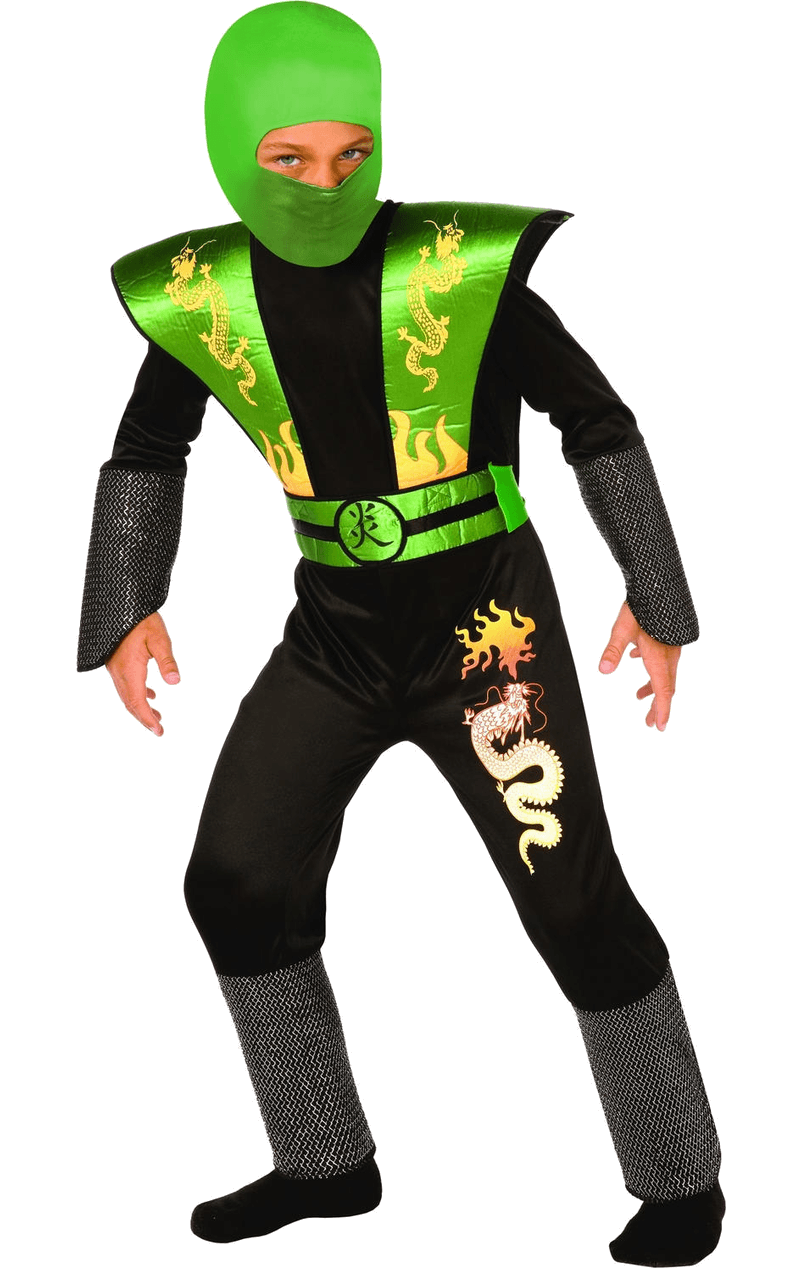 Kids Green Ninja Warrior Costume