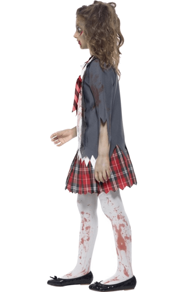 Girls Zombie Schoolgirl Halloween Costume